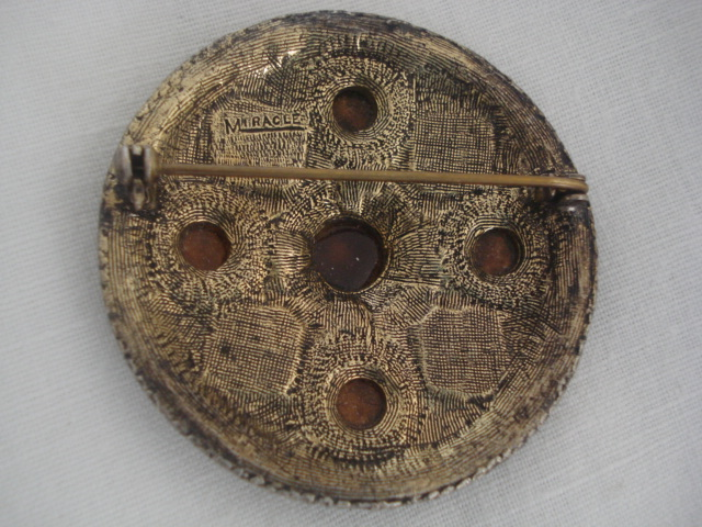 Vintage Miracle Brooch Anglo Saxon Style Disc Brooch With